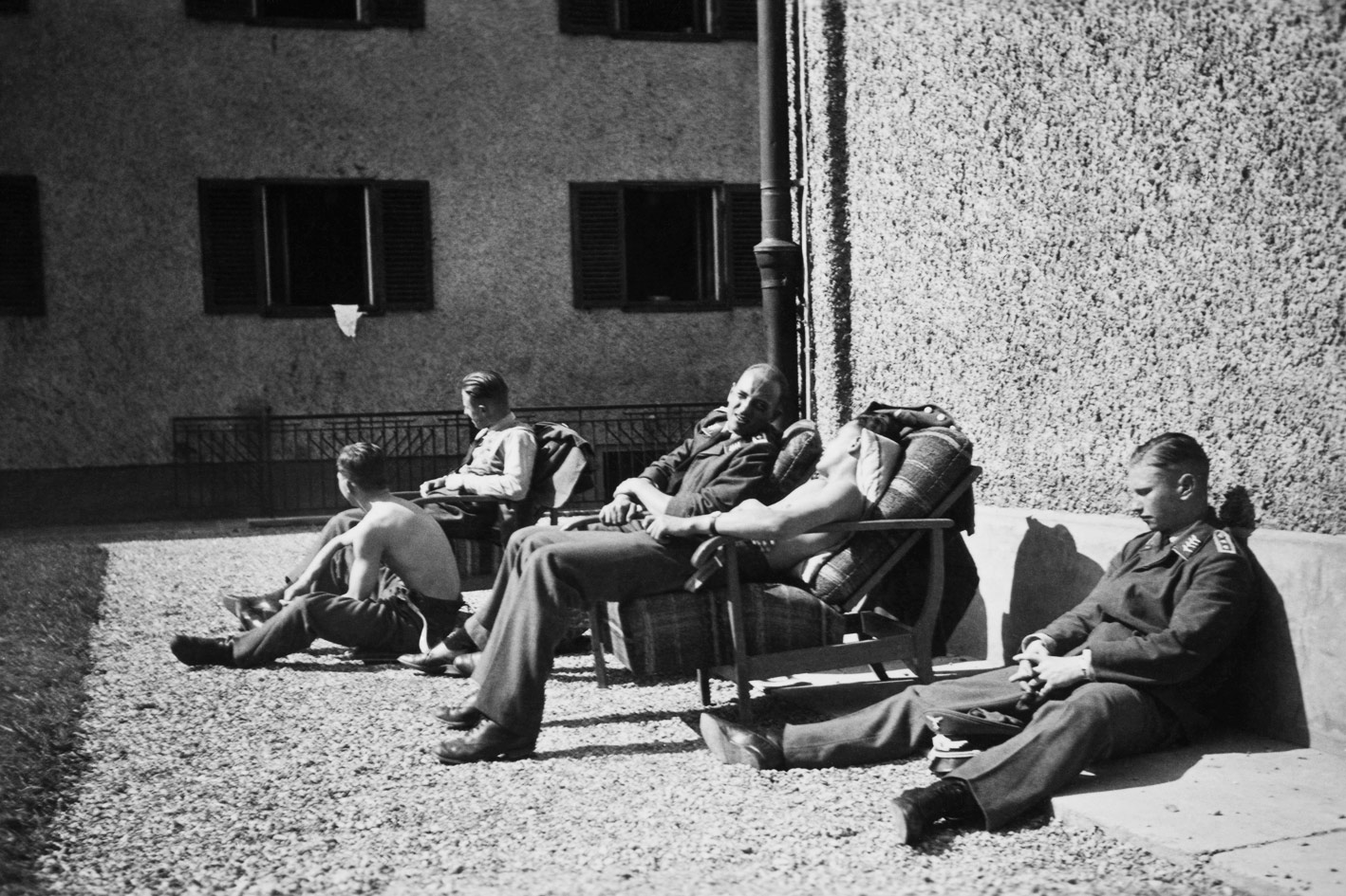 Officers near the hospital enjoying an autumn sun. October 1939